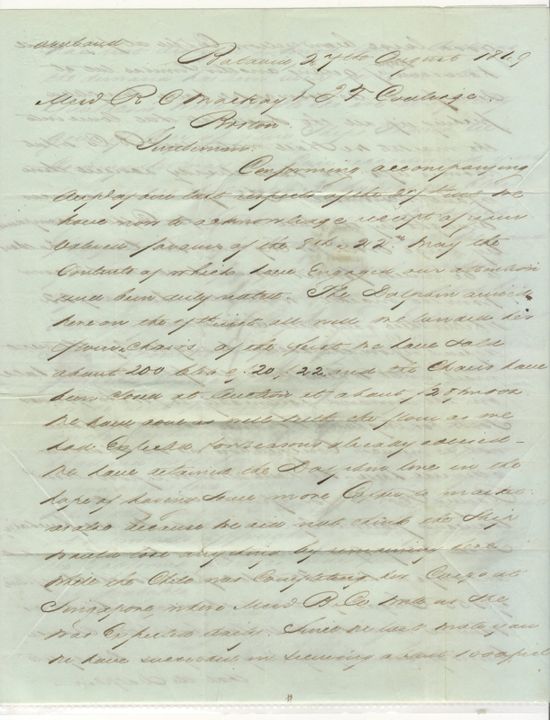 Batavia, Java 1849 Stampless 3 page F.L.S. to Boston