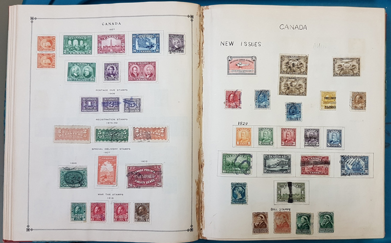 Picture of pages in World Mint & Used in 1928 International album incl Canada, China etc