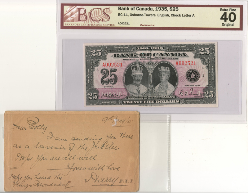 Bank of Canada #BC11 BCS EF40 Original 1935 $25 Banknote $8000