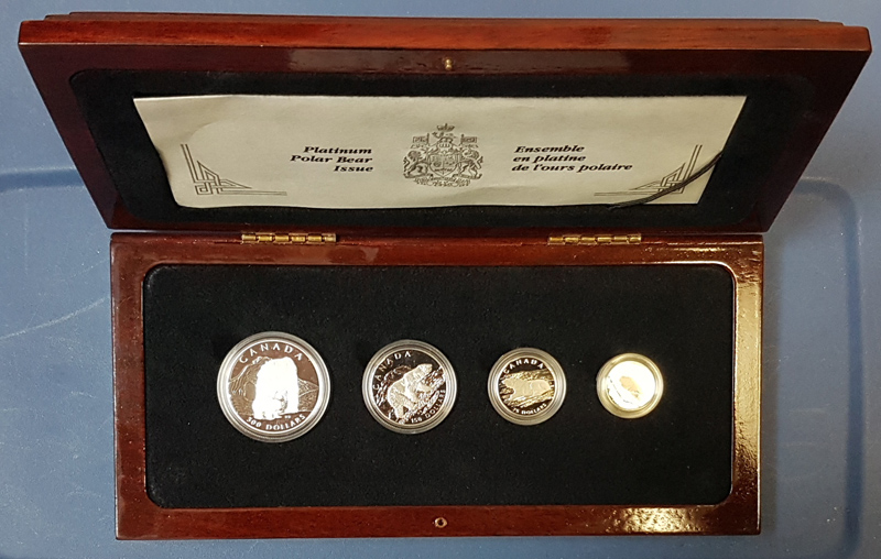Canada Proof 1990 4-coin Platinum Polar Bear set only 2629 issued
