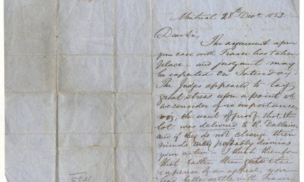 John Abbott signed 28 Dec 1853 folded letter
