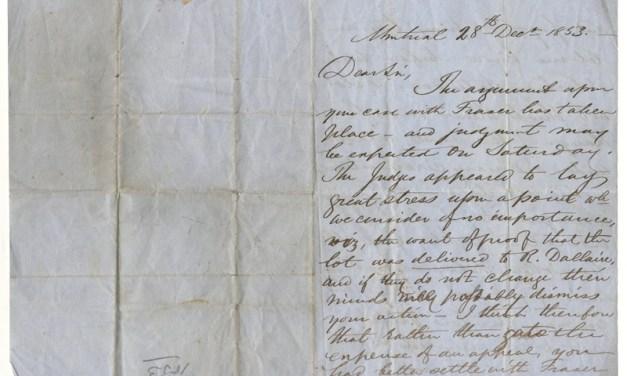 John Abbott signed 28 Dec 1853 folded letter