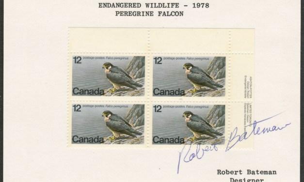 Canada #752var Robert Bateman Signed 1978 12c Block on card
