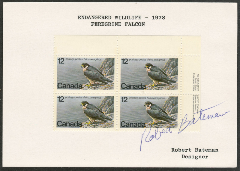 Canada #752var Robert Bateman Signed 1978 12c Block on card