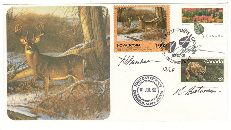 image of Nova Scotia first issue Wildlife Habitat Conservation First Day Cover #12/65 signed by three artists, including Robert Bateman.