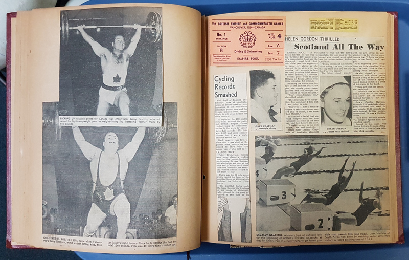 Vancouver, B.C. 1954 Commonwealth Games 60 page Scrapbook