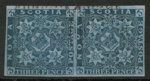 Nova Scotia #3 F/VF Used 1857 3d Horizontal Pair