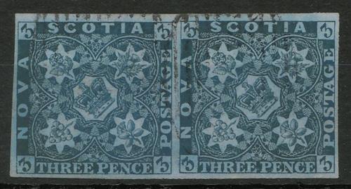 Nova Scotia #3 Used 1857 3d Horizontal Pair