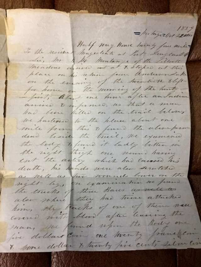 Letter about the death of a prospector from a bear attack, dated Oct. 22, 1859.