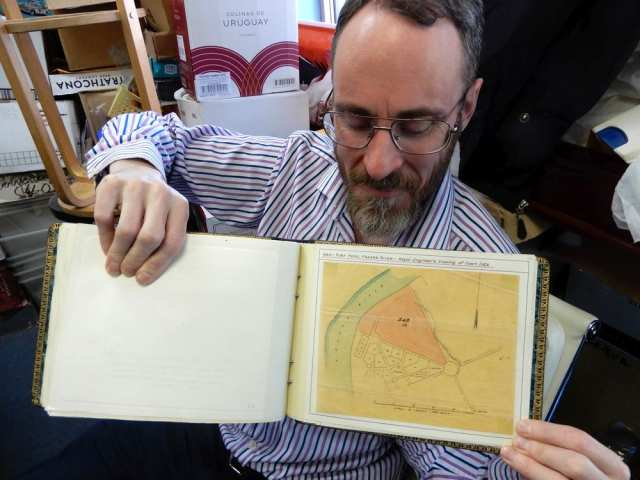 Brian Grant Duff of All Nations Stamp and Coin with a Royal Engineers map of Fort Hope from 1860.