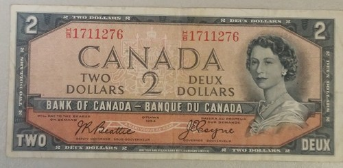Fine 1954 Devil's Face $2 Banknote