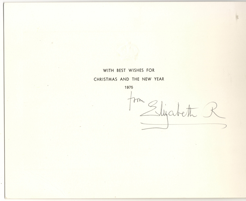 Queen Mum signed 1975 Black & White Christmas Card