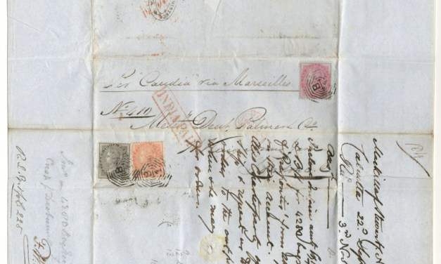 India 22 Dec 1860 14a Calcutta/London India Paid P&O F.L.S.