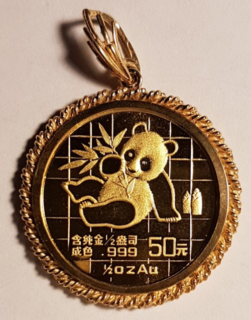 P.R. China Proof 1989 50 Yuan 1/2 Ounce Gold Panda w/ Rope Bezel