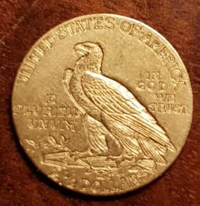 Eagle on U.S.A. 1911 Indian Head Gold