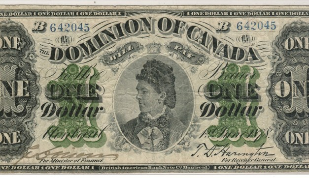 Dominion of Canada 1878 Countess of Dufferin $1 Banknote