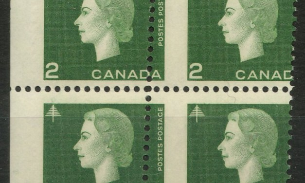Canada #402var 1963 2c Cameo Dramatic Misperf Block