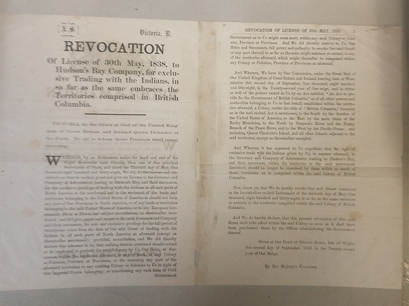 Revocation of H.B.C. License 3 November 1858 Proclamation, page 6