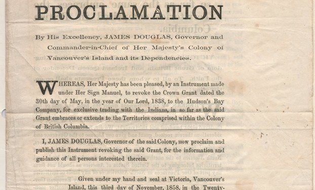 Revocation of H.B.C. Royal Licence in 1858 Proclamation, page 6 of Fraser River Gold Rush Collection