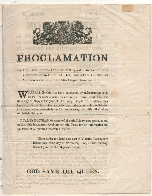 James Douglas, Revocation of H.B.C. License 3 November 1858 Proclamation, page 6