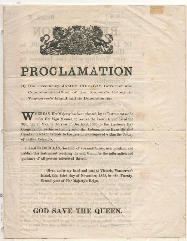 James Douglas, Revocation of H.B.C. License 3 November 1858 Proclamation, page 6