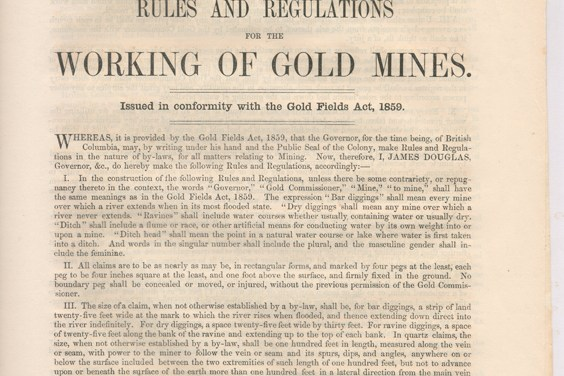 1859 Rules & Regs for the Working of Gold Mines