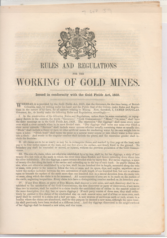Rules & Regs for the Working of Gold Mines 7 September 1859 Proclamation