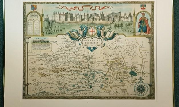 Berkshire framed 1611-1612 John Speed hand-coloured map