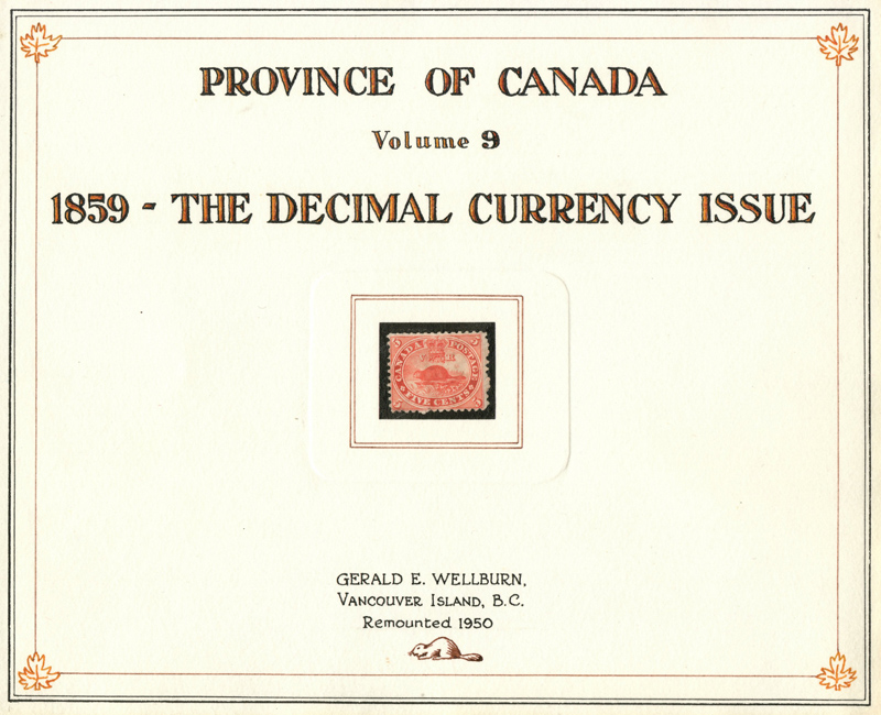 Province of Canada Wellburn title page with stamp