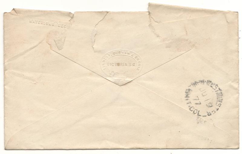 Back of the cover, postmark 1877