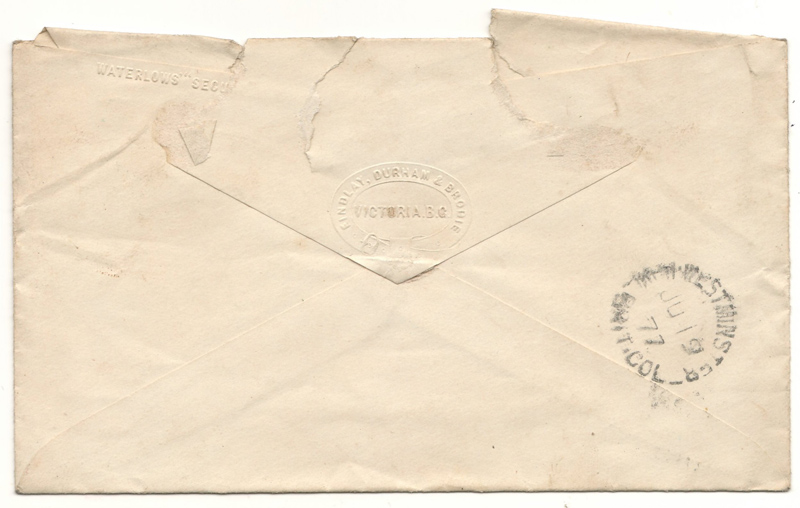 Back of the cover, postmark 1877