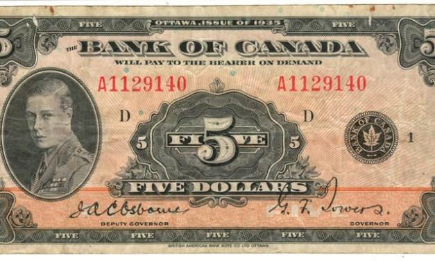 Canada #BC5 1935 $5 Prince of Wales Banknote