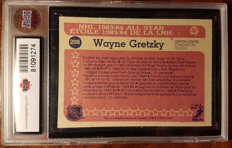 back of Wayne Gretzky All Star Cardcard encapsulated