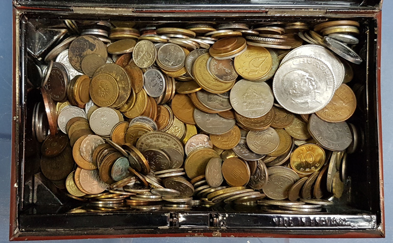 Coins in the metal box