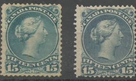 Canada #30b Unused & 30e Mint, short perfs 15c Large Queen shade duo