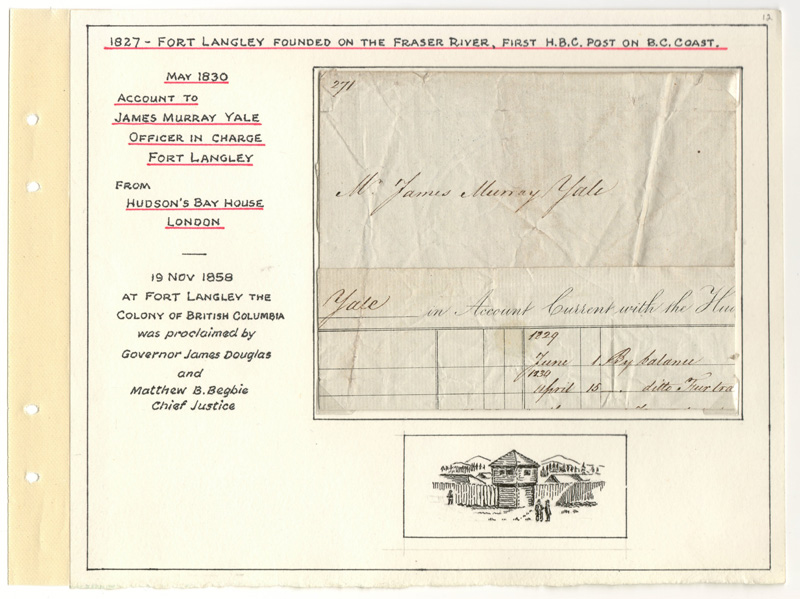 Page 12 H.B.C. 1830 Account to James Yale officer in charge of Fort Langley