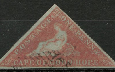 Cape of Good Hope #1 Used 1853 1d Brick Red on Bluish Triangle