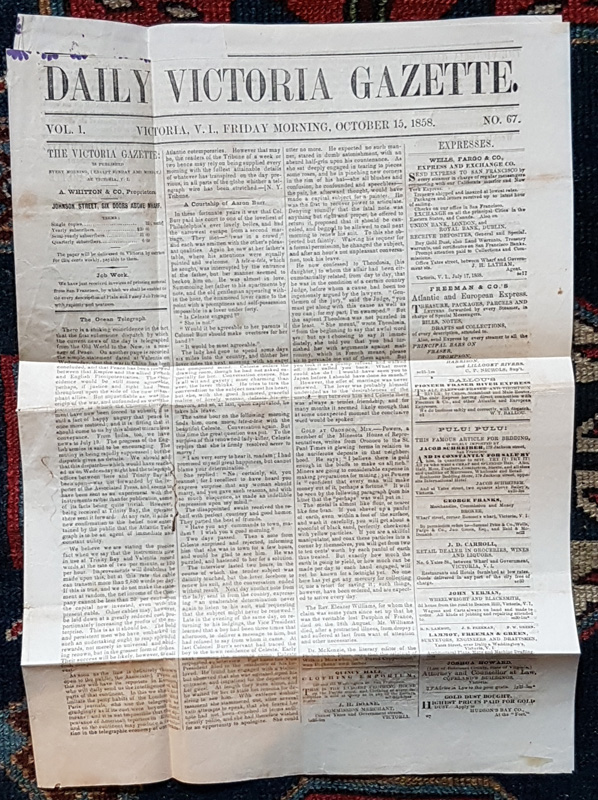 Daily Victoria Gazette full-length unfolded