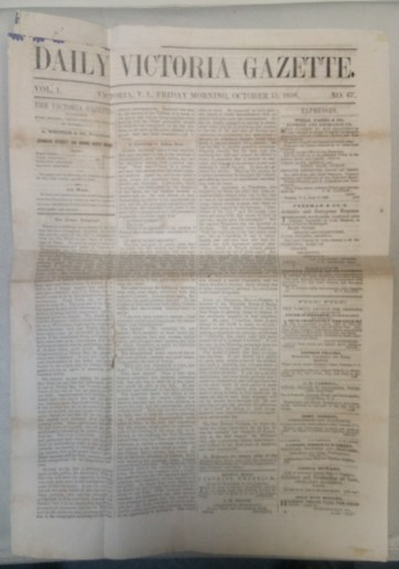 Daily Victoria Gazette page 1