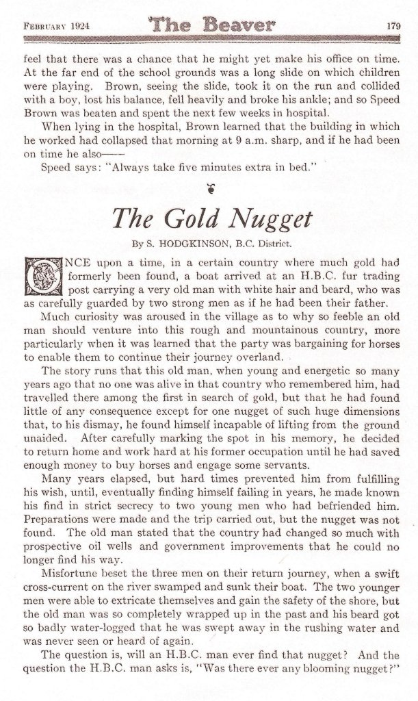 scan of The Beaver The Gold Nugget by Sydney Hodgkinson