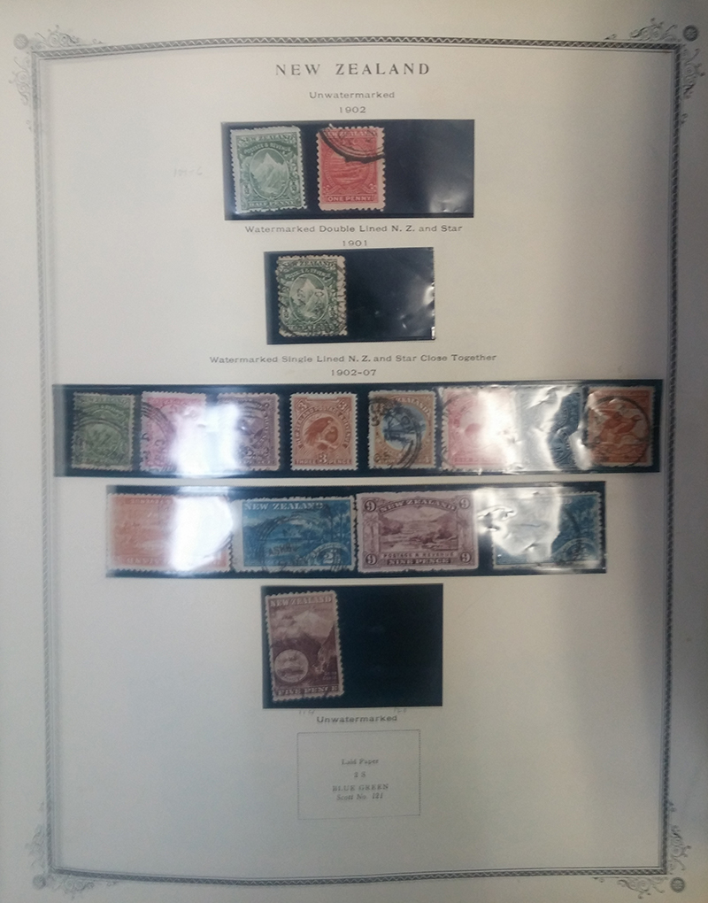 Page of New Zealand Stamps from the Scott Album