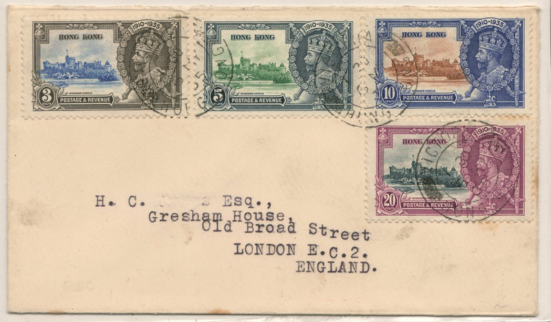 front of  Hong Kong cover, four stamps and typed address