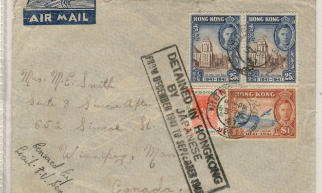 Cover 3 Dec 1941 Detained in Hong Kong by Japanese Censored C.A.O.