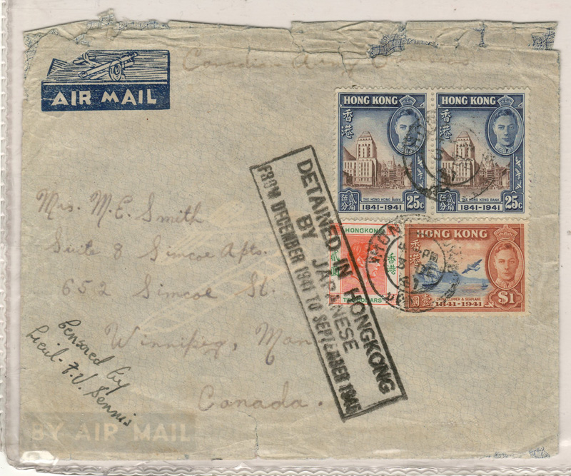 """front of the 1941 HK cover stamped """"Detained in HongKong by Japanese"""""""