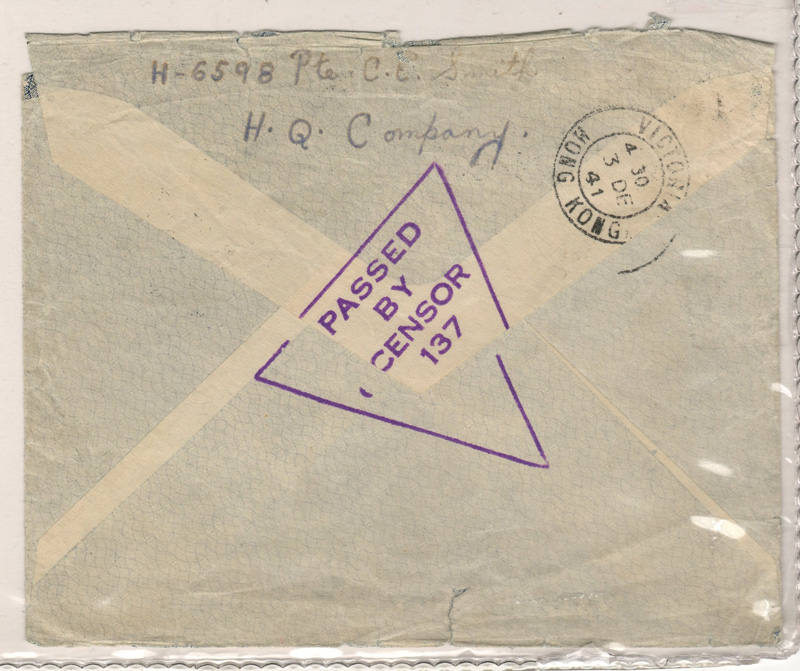 "Back of cover stamped ""Passed by Censor 137"" and cancel 3 Dec 41, Victoria, Hong Kong"