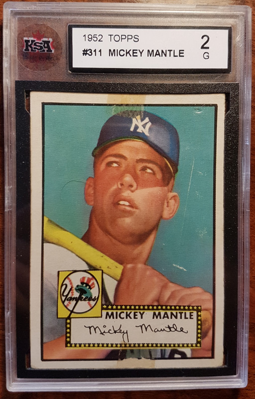slabbed Topps card with picture of Mickey Mantle