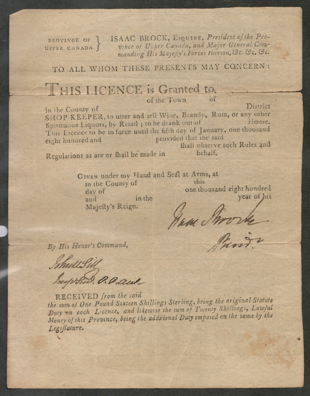 Scan of the Isaac Brock liquor licence