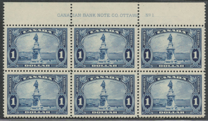 Block of six Champlain stamps