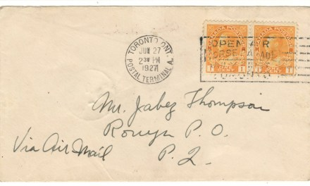 Canada #CL14 27 Jun 1927 10c Rouyn Flight Cover