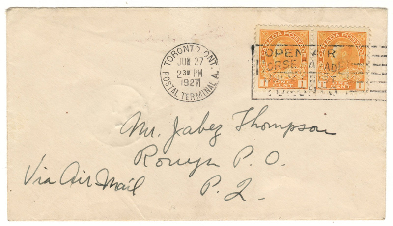 Front of cover 'via airmail' handwritten Toronto Postal Terminal